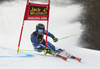 Alice Robinson of New Zealand skiing during first run of the women giant slalom race of the Audi FIS Alpine skiing World cup in Kranjska Gora, Slovenia. Women Golden Fox trophy giant slalom race of Audi FIS Alpine skiing World cup 2019-2020, was transferred from Maribor to Kranjska Gora, Slovenia, and was on Saturday, 15th of February 2020.